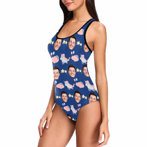 Custom Face Photo & Unicorn Women's Tank Top Bathing Swimsuit - myphotowears