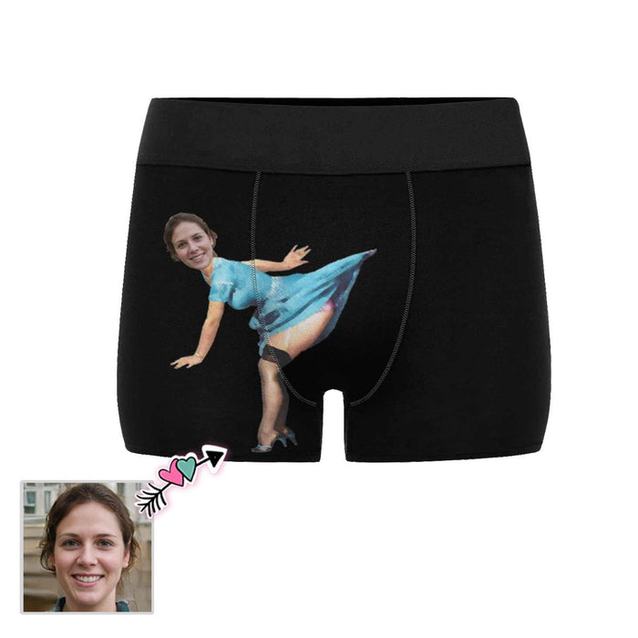 Custom Girlfriend Face Blue Dress Men's Boxer Briefs