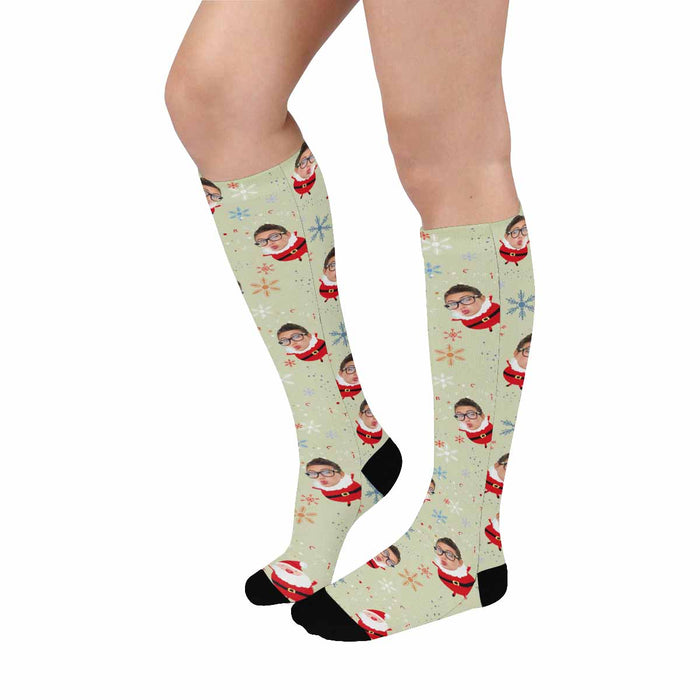 Custom Face & Christmas Over-The-Calf Socks