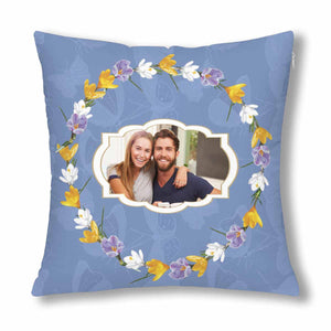 Custom Couple Photo And Flower Patterns Pillow Case - myphotowears