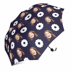 Custom Face Photo & Flower Print Sun & Rain Foldable Umbrella - myphotowears