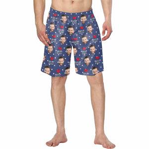Custom Man's Face And 'BEST DAD' Patterns Men's Swim Trunk - myphotowears