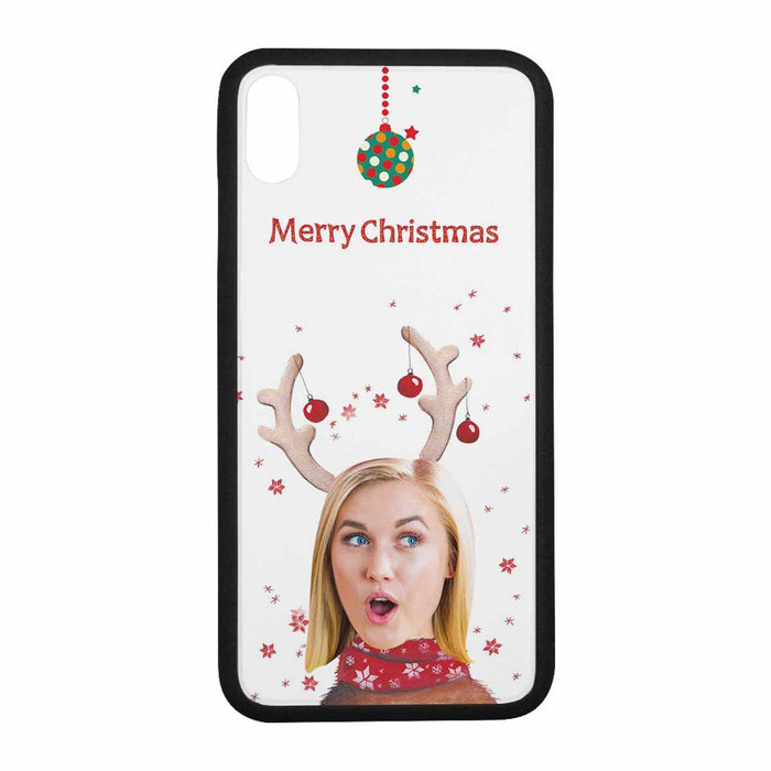 Custom Face Iphone Phone Rubber Case (with Hard Plastic Back) - Christmas Reindeer