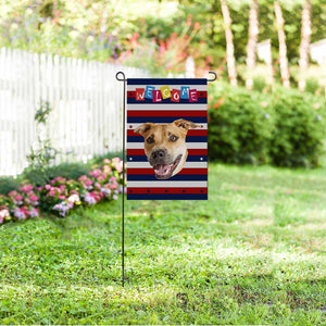 Custom Dog Face US Garden Flag - myphotowears