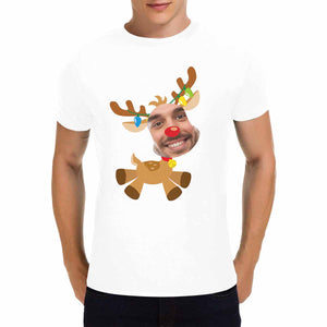 Custom Photo & Reindeer Men's T-Shirt - Gildan - myphotowears
