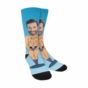 Custom Face & Muscular Man Print Socks - myphotowears