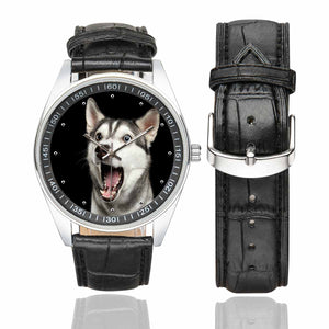 Custom Dog's Photo Men's Casual  Leather Strap Watch - myphotowears