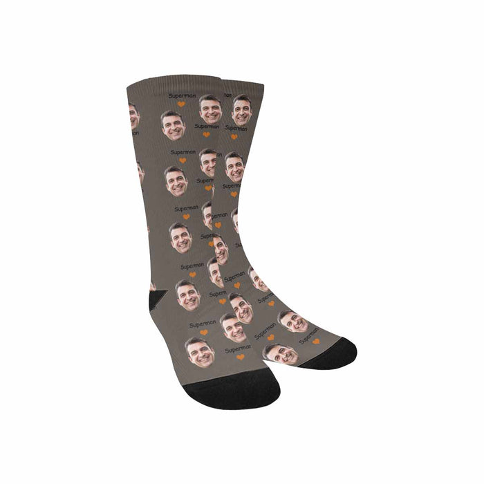 Custom Photo & Superman Print Men's Socks