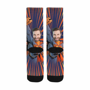 Custom Face & Superman Print Socks - myphotowears