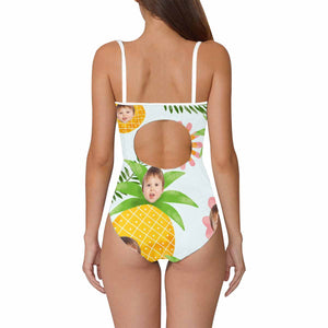 Custom Baby Face And Pineapples One Piece Swimsuit - myphotowears