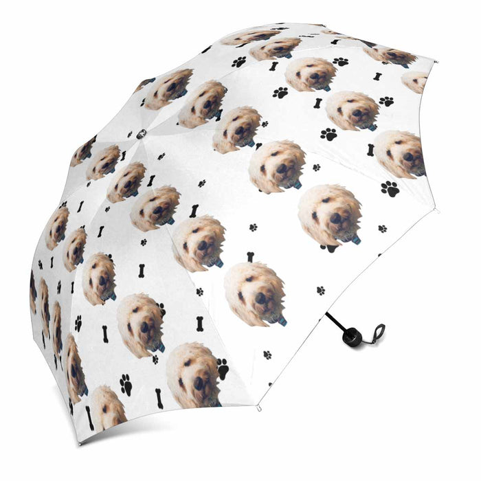 Custom Dog's Face Photo Sun & Rain Foldable Umbrella