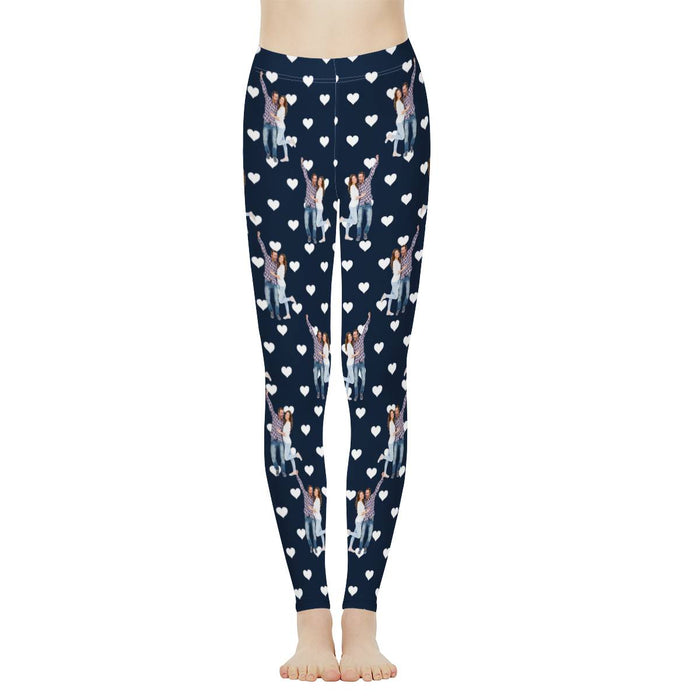 Custom Photo & Couples In Love Print Women's Leggings