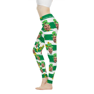 Custom Face St. Patrick Shamrock Low Rise Leggings - myphotowears