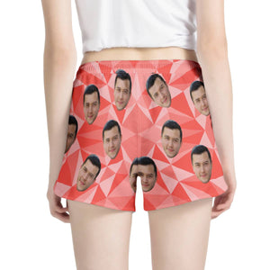 Custom Face & Pink Triangle Women's All Over Print Casual Shorts - myphotowears