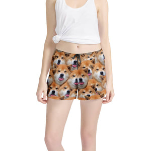 Custom Face & Dog Accumulation Women's All Over Print Casual Shorts - myphotowears