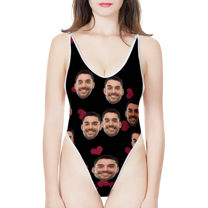 Custom Photo & Red love Women's One-Piece High Cut Swimsuit