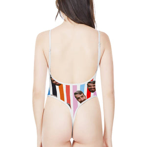 Custom Face & Chromatic Stripe Women's One-Piece High Cut Swimsuit - myphotowears
