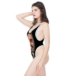 Custom Photo & Zipper Women's One-Piece High Cut Swimsuit - myphotowears