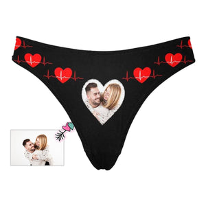 Custom Photo Heartbeat Love Couple Women's Classic Thong