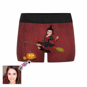 Custom Face Witch Halloween Men's All-Over Print Boxer Briefs
