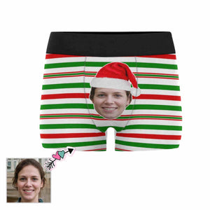 Custom Face Christmas Color Stripe Men's All-Over Print Boxer Briefs