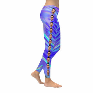 Custom Face Rainbow Gradient Low Rise Leggings