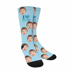 Custom 'I LOVE DAD &' Kid's Face Photo Socks - myphotowears