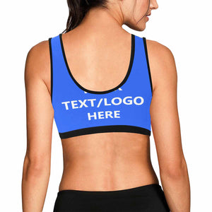 Custom Text/Logo  & Multicoloured Women's Sports Bra - myphotowears