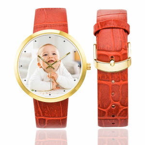 Custom Photo Women's Golden Leather Strap Watch - Kid's - myphotowears