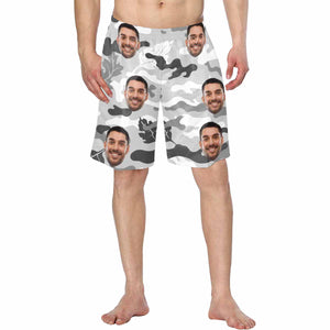 Custom Face Photo & Camouflage Print Men's Swim Trunk - myphotowears