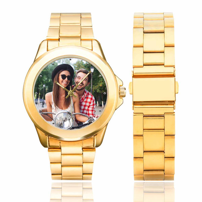 Custom Couple's Photo Men's Gilt Watch Personalized Gifts