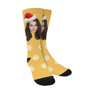 Custom Photo & Christmas Hat Print Socks - myphotowears