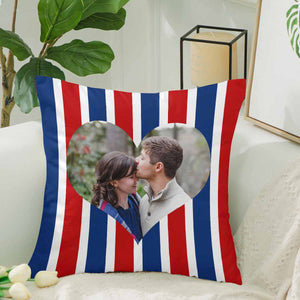 Custom Stripe And Big Heart Pattern With Photo Pillow Case - myphotowears