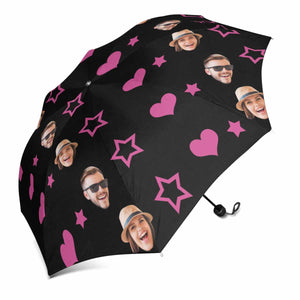 Custom Photo Sun & Rain Foldable Umbrella - Couple's Face & Love Heart & Star - myphotowears