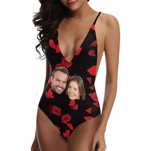 Custom Couple Face Photo Deep V-neckline Swimsuit - myphotowears