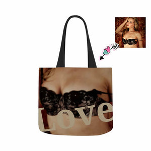 Custom Your Chest Canvas Tote Bag - myphotowears