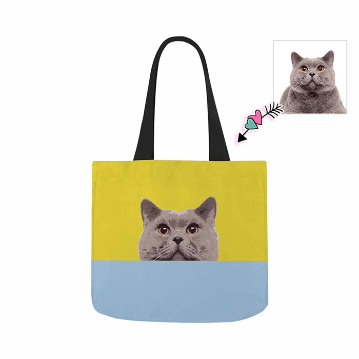 Custom Photo & Yellow and Blue Canvas Tote Bag
