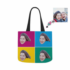 Custom Photo & Color Piece Canvas Tote Bag - myphotowears