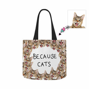 Custom Photo  & BECAUSE CATS Canvas Tote Bag - myphotowears