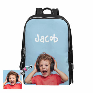 Custom Photo & Name School Backpack 15-Inch Laptop - myphotowears