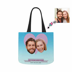 Custom Photo & BOY'S NAME & GIRL'S NAME Canvas Tote Bag - myphotowears