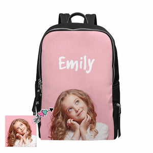 Custom Photo & Name Pink School Backpack 15-Inch Laptop - myphotowears