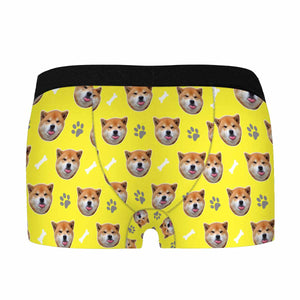 Custom Dog Photo & Paw Boom Print Men's Boxer - myphotowears
