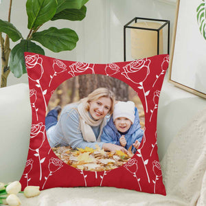 Custom Rose Pattern With Photo Pillow Case - myphotowears