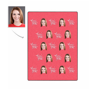 Custom Photo Fleece Blanket - 'Love You' Patterns - myphotowears