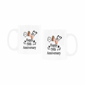 Custom 50 Years Anniversary Photo Of Marrying Pattern Mug - myphotowears
