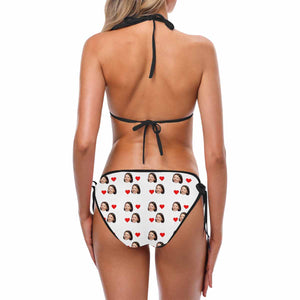 Custom Woman's Face Photo And Heart Patterns Swimsuit - myphotowears