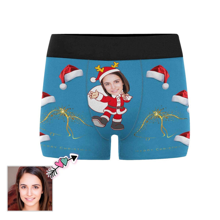 Custom Face Christmas Hat Men's Boxer Briefs