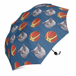 Custom Pet Photo Sun & Rain Foldable Umbrella Cat's Face & Basketball Print - myphotowears