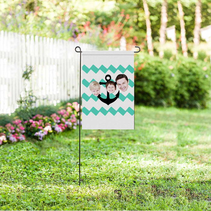 Custom Family Face & Wave Garden Flag